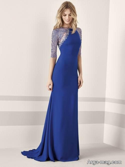 مدل لباس مجلسی بلند آبی کلاسیک