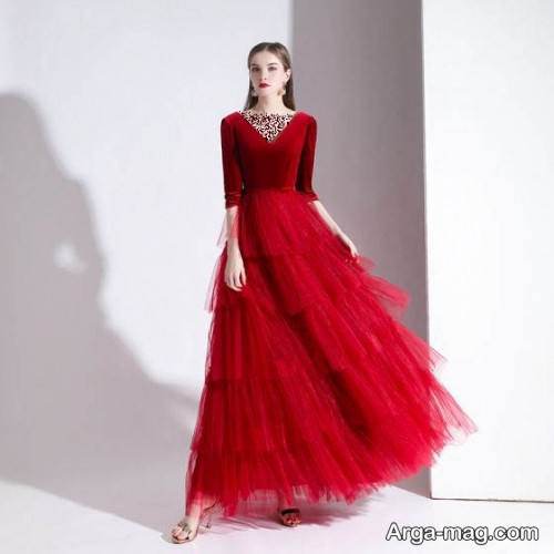 لباس مجلسی قرمز و ساده