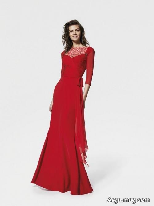 مدل لباس مجلسی بلند و قرمز