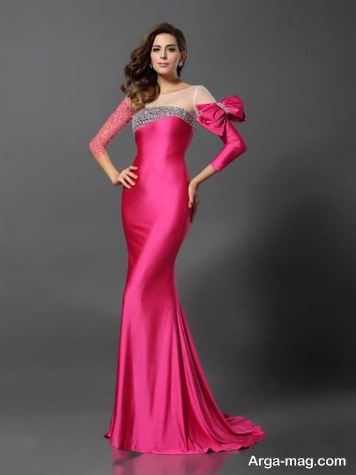 مدل لباس مجلسی صورتی زنانه