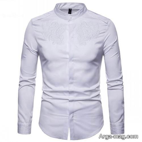 مدل پیراهن مردانه 1399 سفید