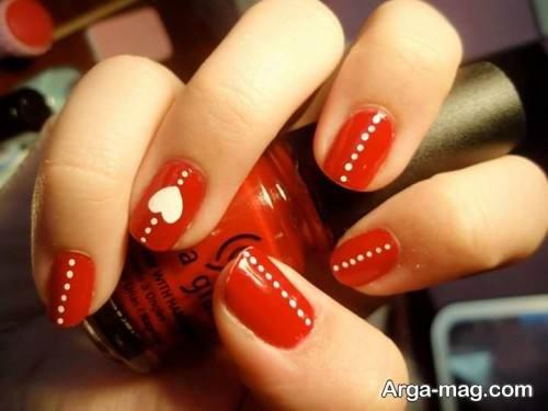 طراحی ناخن ولنتاین با رنگ قرمز