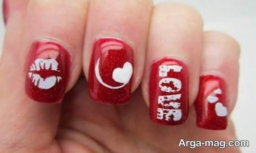 دیزاین ناخن با لاک قرمز برای روز عشق