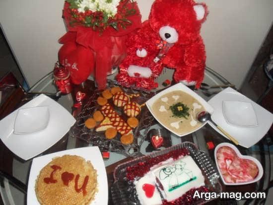 تزیین عاشقانه و رمانتیک میز