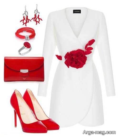 ست لباس قرمز و سفید