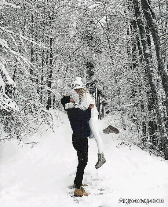 عکس عاشقانه در طبیعت زمستانی