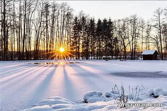 عکسی زیبا از منظره برفی در زمستان