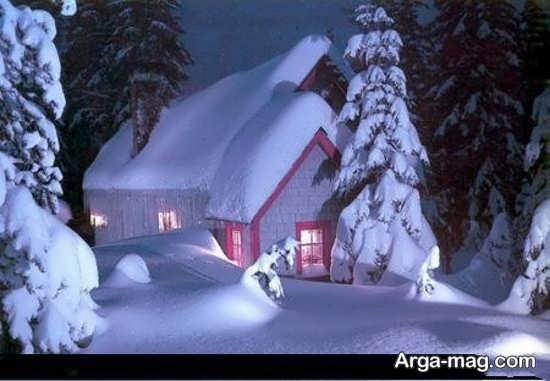 عکس منظره زمستانی در شب