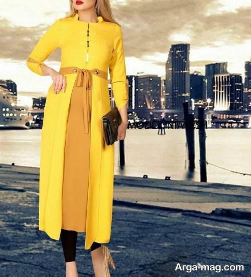 مدل مانتوی شیک و زرد