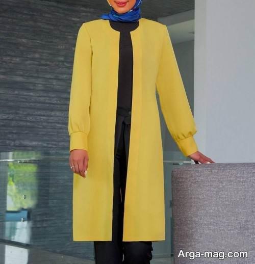 مدل مانتو زرد ساده و شیک