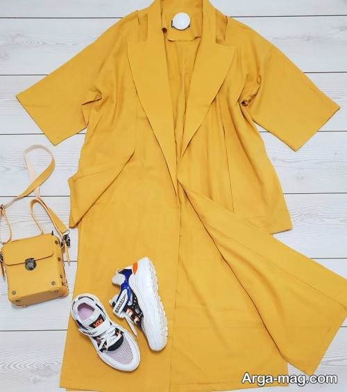 مدل مانتو زرد بلند