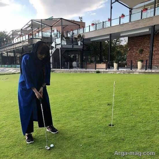 تصویر منتشر شده از لیلا برخورداری در حال گلف بازی کردن