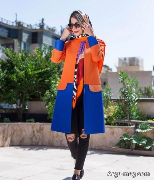 مانتوی آبی و نارنجی