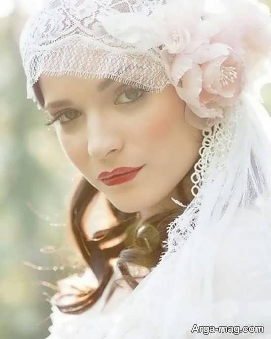 کلاه حجاب زیبا برای عروس