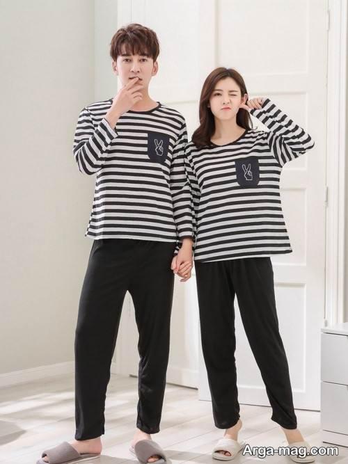 ست لباس راه راه برای زوجین
