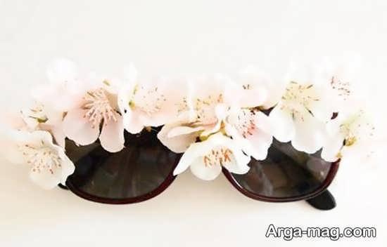 عینک افتابی دیزاین شده با گل مصنوعی