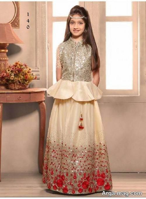 لباس هندی رنگ روشن دخترانه