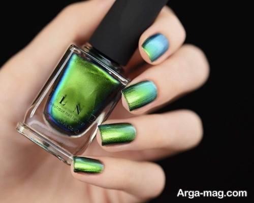 دیزاین ناخن با لاک سبز