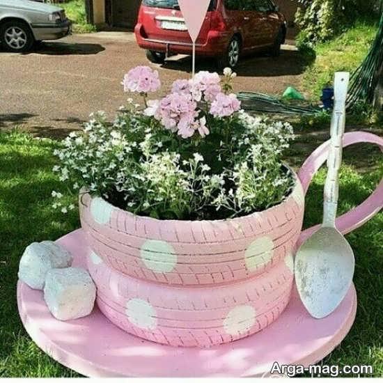 ساخت گلدان با تایر ماشین