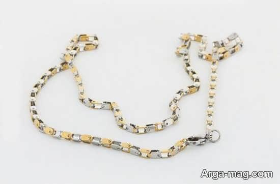 گردن بند استیل نقره ای و طلایی مردانه