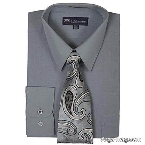 ست کراوات طوسی و پیراهن طوسی