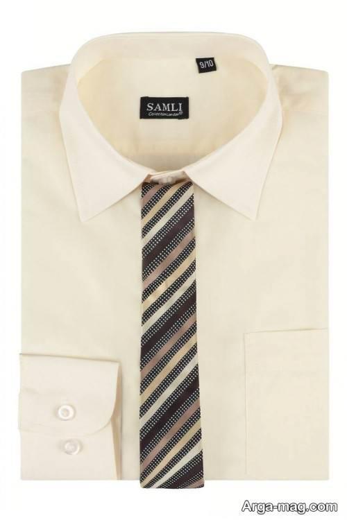 ست پیراهن کرم با کراوات طرح دار