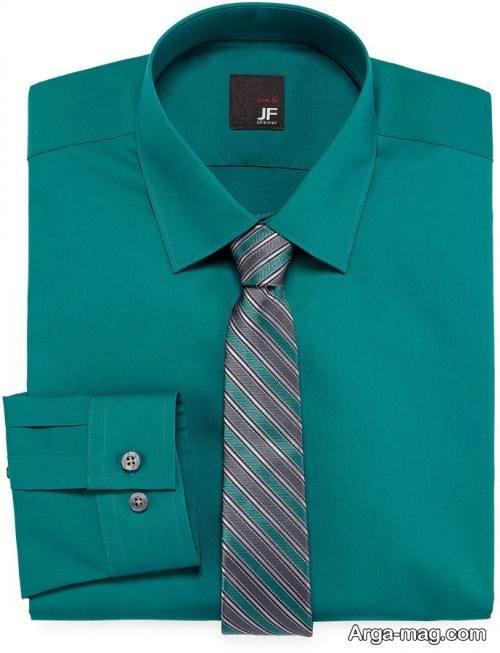 ست پیراهن سبز با کراوات طرح دار