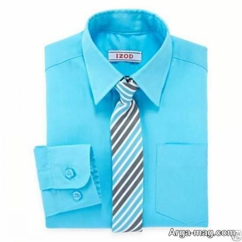 ست کراوات شیک با پیراهن آبی