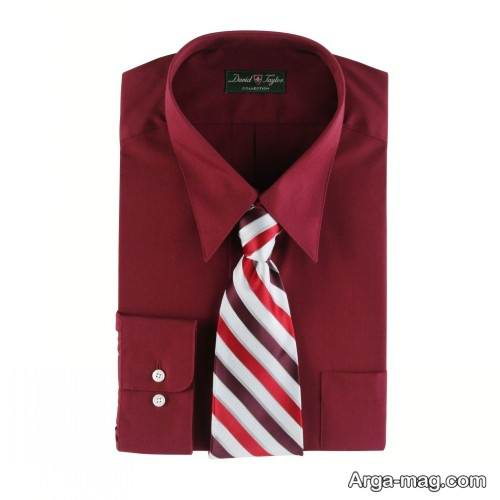 ست کراوات طرج دار با پیراهن زرشکی