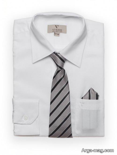 ست پیراهن سفید مردانه با کراوات راه راه