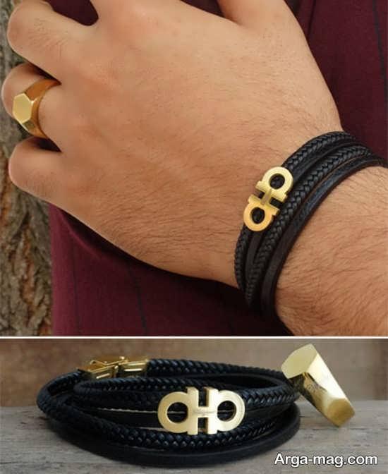 انگشتر و دستبند مردانه مدل چرم