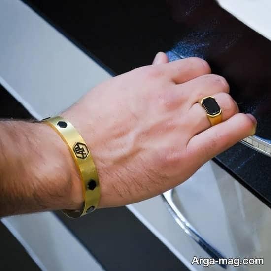 ست انگشتر و دستبند طلای مردانه