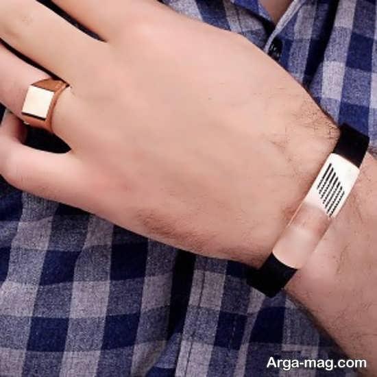 ست انگشتر و دستبند چرم آقایان