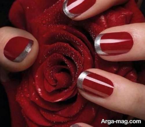 دیزاین ناخن با لاک نقره ای و قرمز