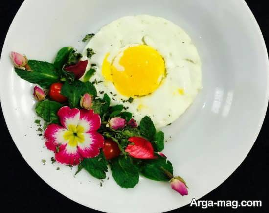 تزیین نیمرو صبحانه با انواع سبزیجات