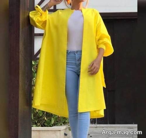مدل مانتوی زرد