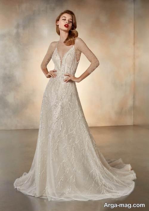 لباس عروس شیک نباتی