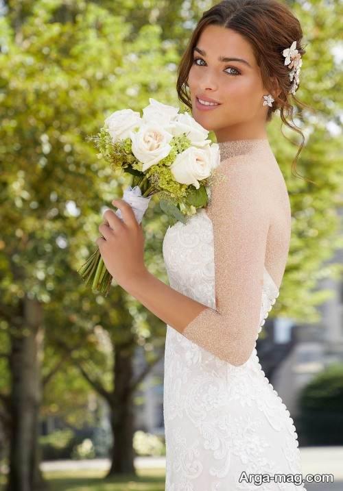 مدل شینیون و آرایش صورت برای عروس