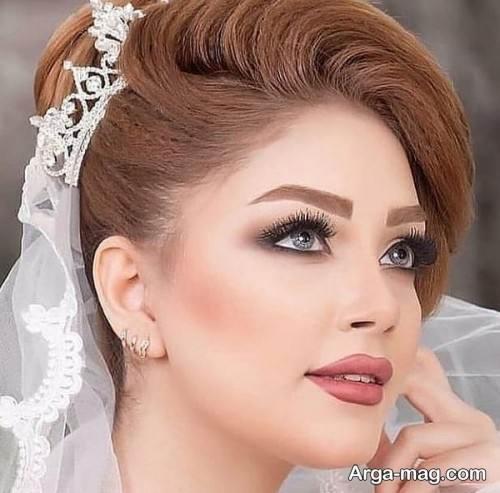 شینیون عروس با تاج و تور