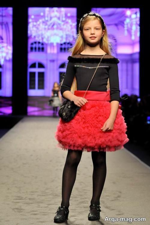 لباس مجلسی قرمز و مشکی دخترانه