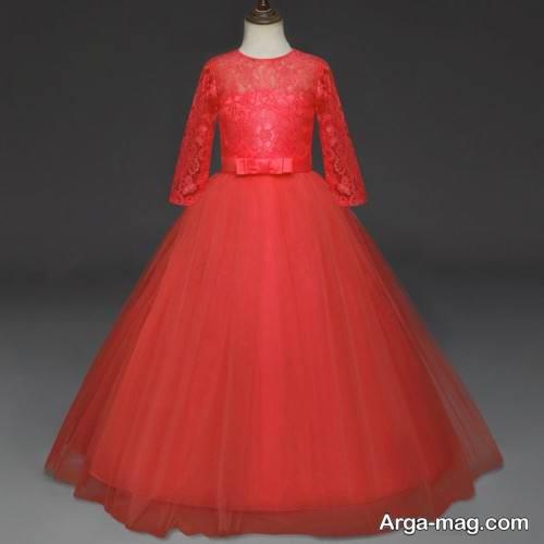 دل لباس مجلسی قرمز دخترانه