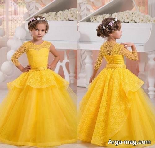 لباس مجلسی زرد دخترانه