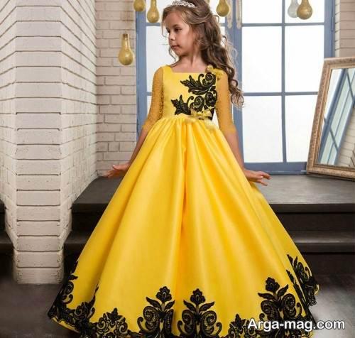 لباس مجلسی زرد و مشکی دخترانه