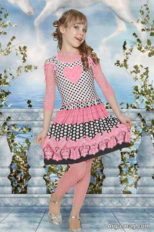 لباس مجلسی صورتی و طرح دار دخترانه