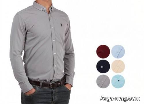 پیراهن مردانه طوسی روشن