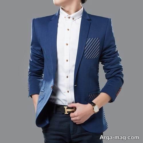 ست کت آبی و پیراهن سفید