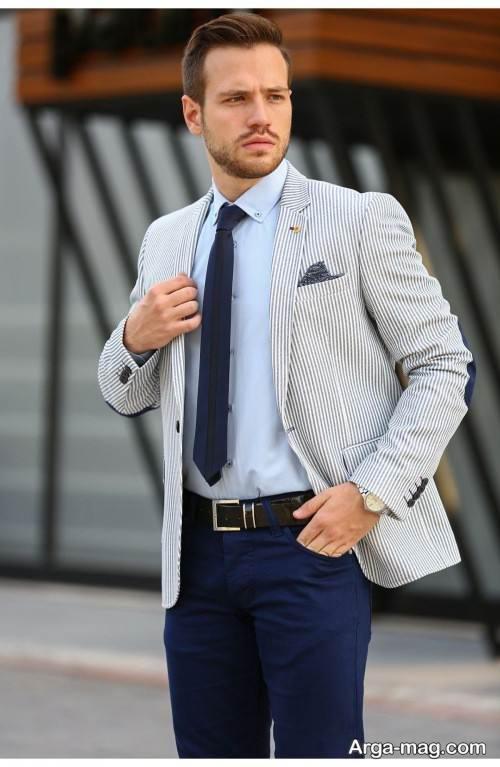 ست کت رنگ روشن با پیراهن شیک مردانه