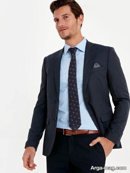 ست کت ساده با پیراهن آبی