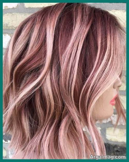رنگ مو رزگلد با هایلایت
