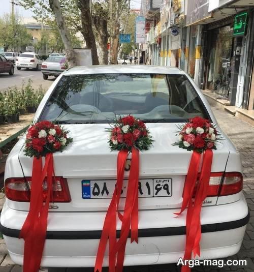 تزیین ماشین عروس سمند با گل و روبان